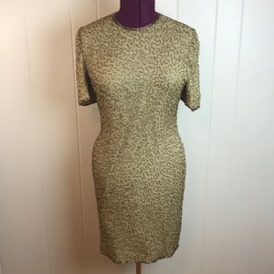 Vintage 80s Gold Beaded Cocktail/Party Dress